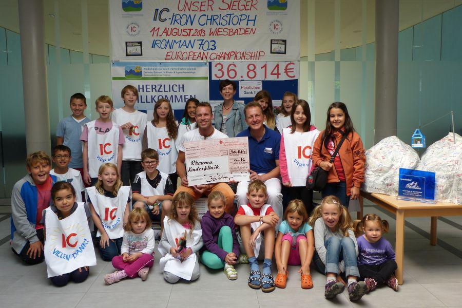 Ironman Hilde Kinderrheuma - Scheckübergabe 2013 - Spendensumme 36.814,99 Euro